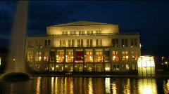 Time-lapse shot of Germany Leipzig opera house Stock Footage