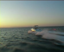 Speed Boat Speeding Towards The Sun Stock Footage