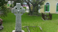 Stock Video Footage of Celtic Cross Tombstone