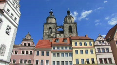 Germany Wittenberg Market square St Marien church Stock Footage
