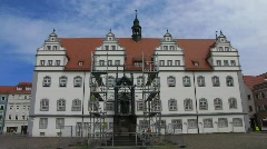 Germany Wittenberg Town hall at Market square Stock Footage