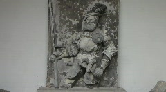 Nostalgic Knight stone sculpture Stock Footage