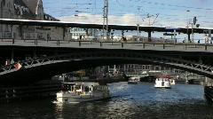 Germany Berlin Friedrichstrasse cruise on Spree Stock Footage