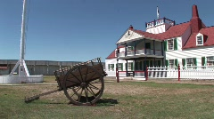 P00215 Wagon and Yard at Fort Union Trading Post Stock Footage