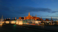 Wat Phra Kaew time-lapse at night Stock Footage