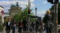 Germany Berlin Brandenburgertor traffic light tourists Stock Footage