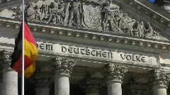 German flag at Berlin Reichstag Parliament national flag - stock footage