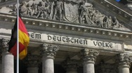German flag at Berlin Reichstag Parliament national flag Stock Footage