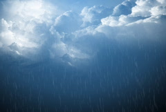 Clouds and rain with light breaking thru Stock Footage