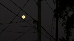 View of Moon From The City Stock Footage
