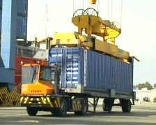 Crane Lifting Container From Truck 2 Stock Footage