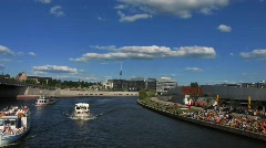 Germany Berlin cruise along river Spree Stock Footage