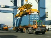 Crane Lifting Container From Truck 1 Stock Footage
