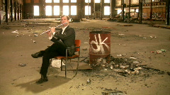 Flutist in an abandoned factory. Stock Footage