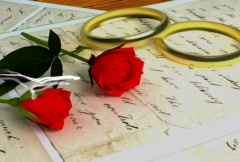 Stock Video Footage of Wedding rings, rose and love