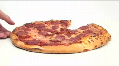 Pizza grab fast motion - HD  - stock footage
