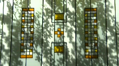 Abstract shadows on stained glass Stock Footage