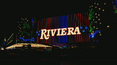 Stock Video Footage of RivieraPorticoNeonSign