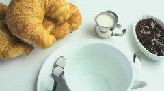Coffee Continental Breakfast Stock Footage