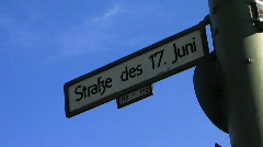 Germany Berlin traffic June 17 street Siegessaule street sign Stock Footage