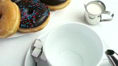 Coffee Doughnut  Treat Stock Footage