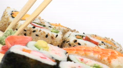 Eating sushi slanted - HD  Stock Footage