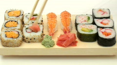 Eating sushi fast motion- HD  - stock footage