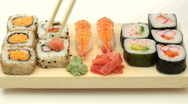 Eating sushi fast motion- HD  Stock Footage