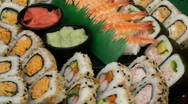 Stock Video Footage of Sushi display zoom in - HD