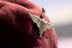 Parachute regiment veteran with red baret near the Arnhem Bridge Stock Footage