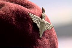 Parachute regiment veteran with red baret near the Arnhem Bridge - stock footage