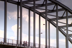 People on the Arnhem Bridge Stock Footage