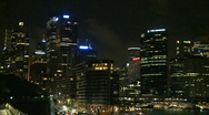 Sydney City Night Skyline Stock Footage