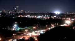 Boston Skyline - Wide - Night Traffic Time Lapse - stock footage