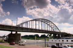Arnhem Bridge and the river Rhine Stock Footage