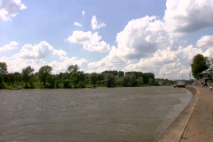 Pan from the river Rhine to the Arnhem Bridge Stock Footage