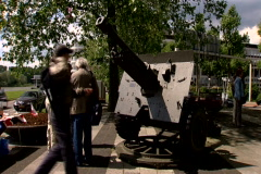 People at the Airborne monument near the Arnhem Bridge - stock footage