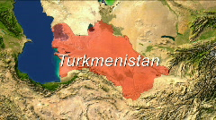 Zooming into Turkmenistan - stock footage