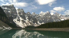Moraine lake, Banff, #20 wide shot, nice reflection of mountains Stock Footage