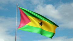 Flag of São Tomé and Príncipe Stock Footage