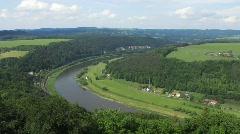 Germany Saxony Lilienstein sandstone Konigstein castle - stock footage
