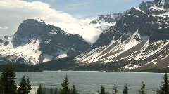 Bow lake and glacier, late spring Stock Footage
