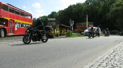 Germany Saxony Königstein bikers and tour bus Stock Footage