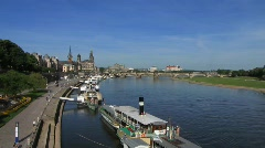 Germany Saxony Dresden skyline with Elbe river Stock Footage
