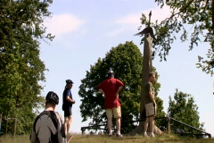 People looking at the parachute regiment monument at the Ginkel Heath, Arnhem - stock footage