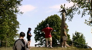 People looking at the parachute regiment monument at the Ginkel Heath, Arnhem Stock Footage