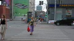 Crosswalk Novosibirsk Russia Stock Footage