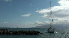 Sailboat ,hawaii sailors on the bow Stock Footage