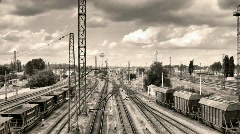 Time Lapse Railway switchyard. Stock Footage