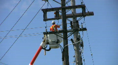Hydro Repair Man Working On The Line Stock Footage